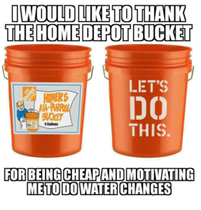 water changes home depot bucket