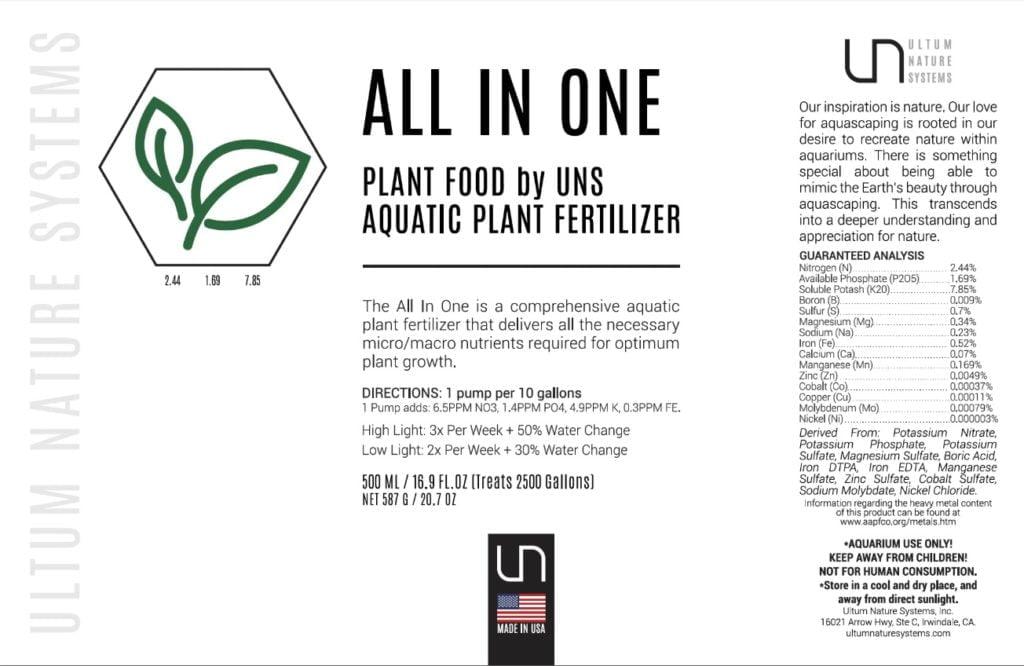 UNS Aquarium fertilizer all in one analysis